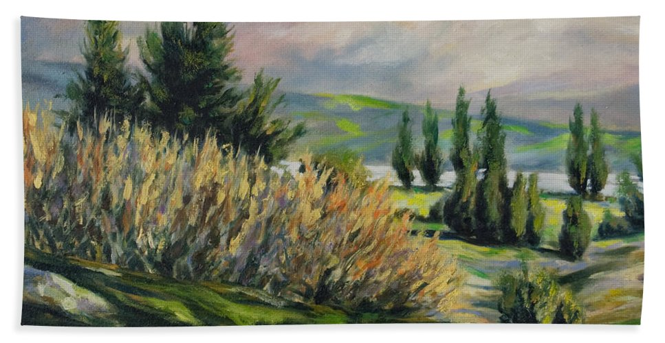 Trees Bath Towel featuring the painting Valleyo by Rick Nederlof