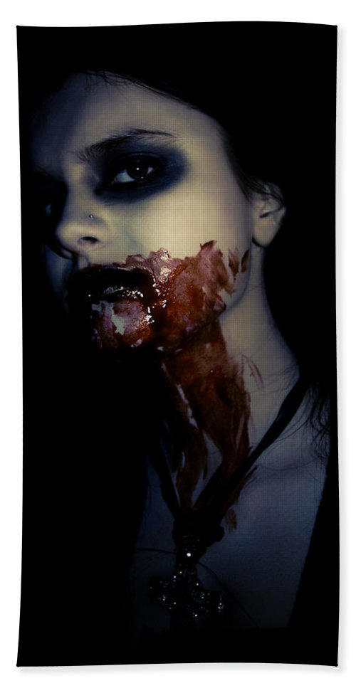 Vampire Hand Towel featuring the photograph Vampire Feed by Kelly Jade King