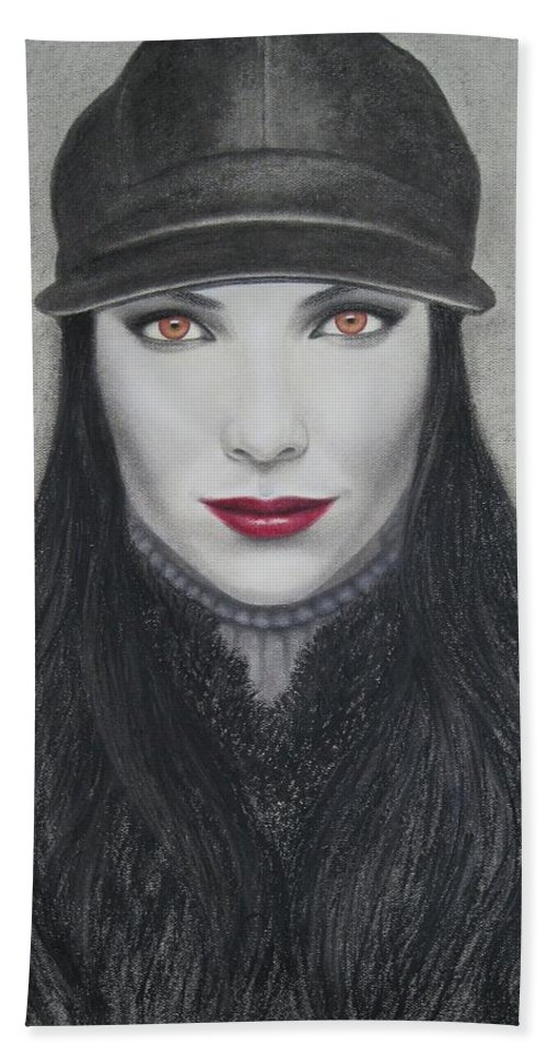 Vampire Bath Towel featuring the painting Vampire by Lynet McDonald
