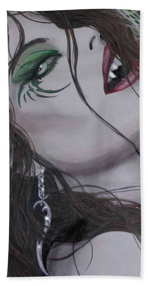 #vampire Hand Towel featuring the drawing Vampiress II by Kristopher VonKaufman