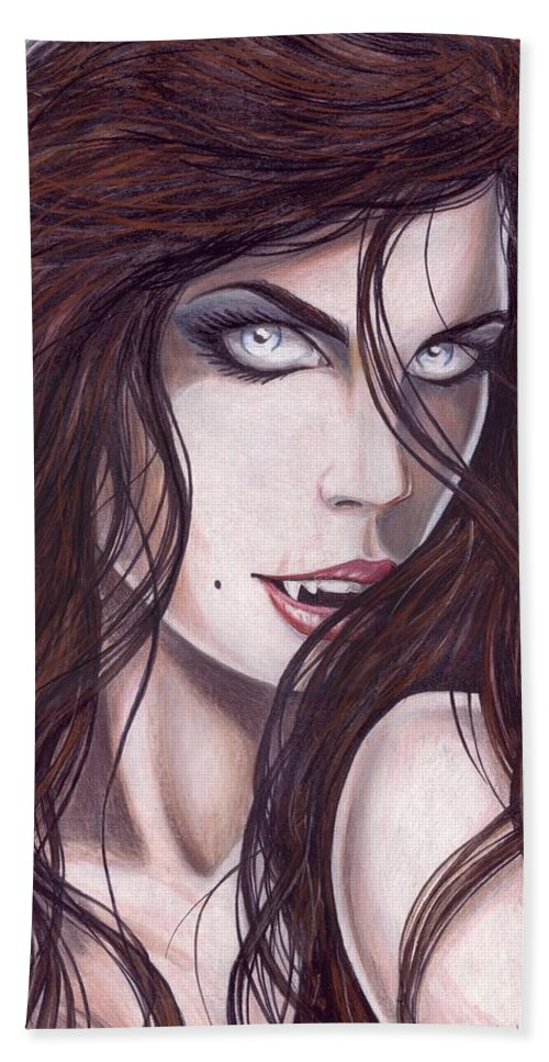 #girl Bath Towel featuring the drawing Vampiress by Kristopher VonKaufman