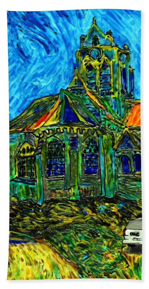 Van Gogh Hand Towel featuring the painting Van Goes To Auvers by Phil Strang