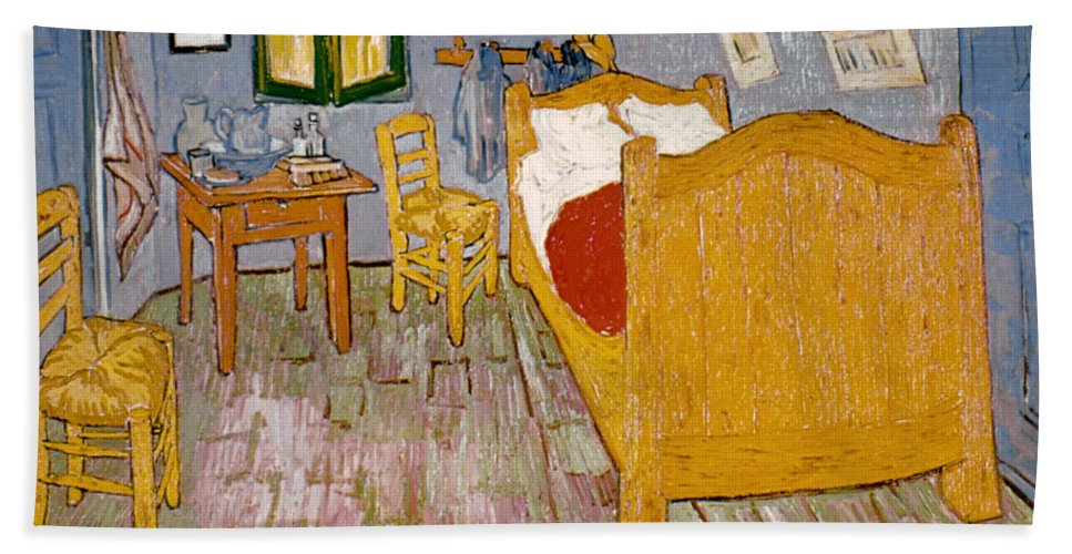 1888 Hand Towel featuring the photograph Van Gogh: Bedroom, 1888 by Granger