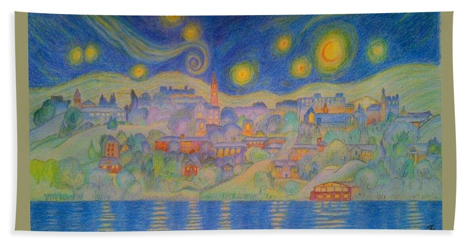 Van Gogh Hand Towel featuring the painting Van Goghville by John Cunnane