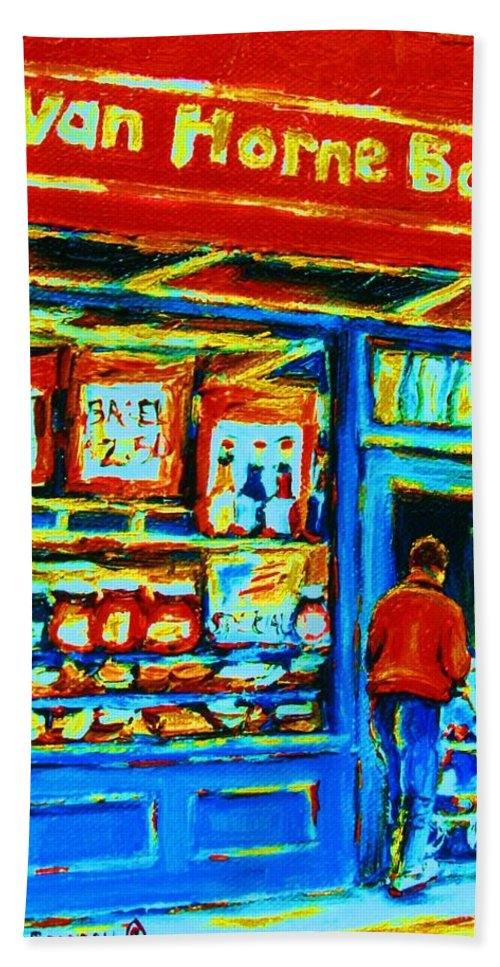Van Horne Bagel Hand Towel featuring the painting Van Horne Bagel by Carole Spandau
