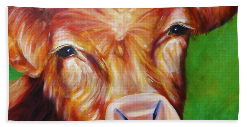 Bull Bath Towel featuring the painting Van by Shannon Grissom