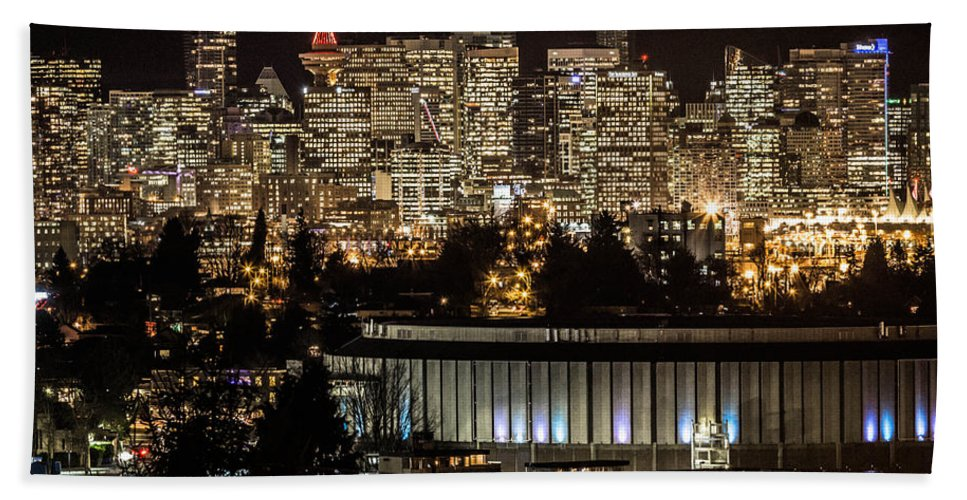Vancouver Hand Towel featuring the photograph Vancouver Lights by Brigitte Mueller