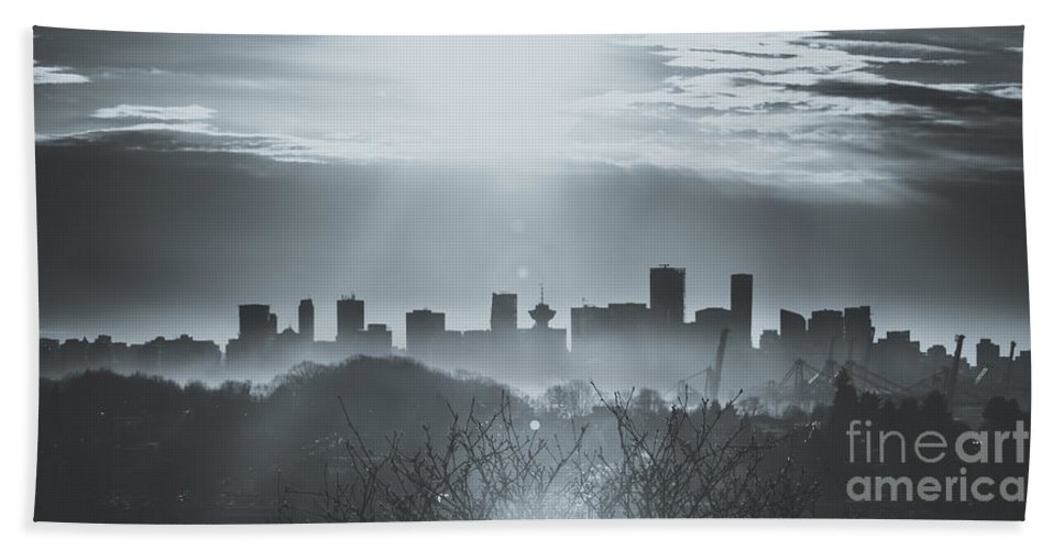Vancouver Sunset Hand Towel featuring the photograph Vancouver Skyline by Alanna DPhoto