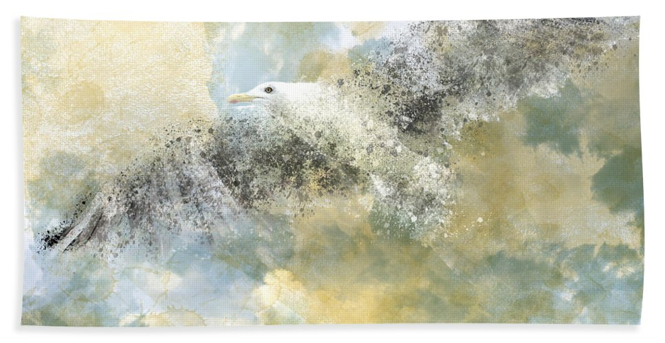Decorative Bath Towel featuring the photograph Vanishing Seagull by Melanie Viola