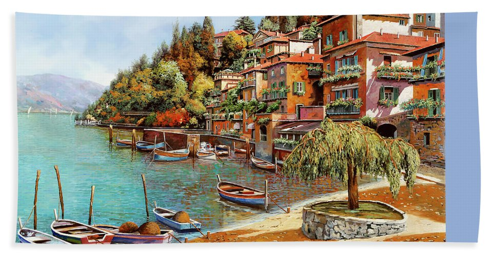 Lake Como Bath Sheet featuring the painting Varenna On Lake Como by Guido Borelli