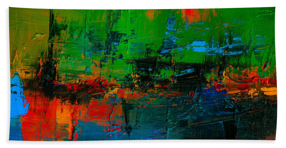 Abstract Bath Sheet featuring the painting Variation by Mary-Elise Art and Design