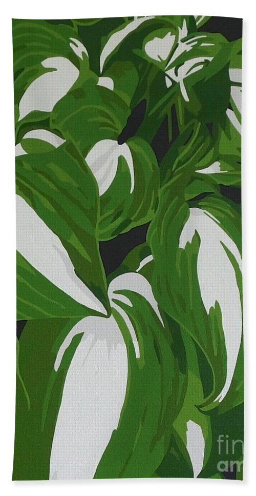 Acrylic Hand Towel featuring the painting Variegated Hostas by Susan Porter