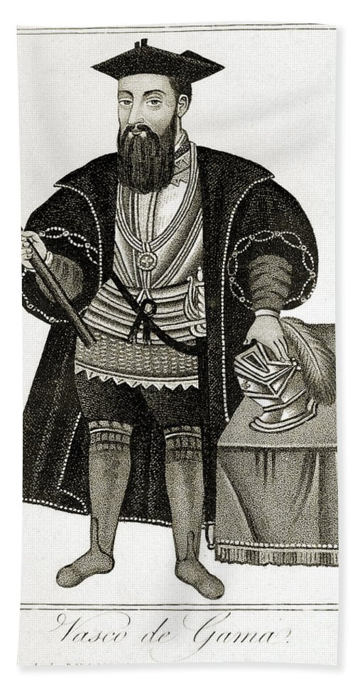 Vasco Da Gama Hand Towel featuring the photograph Vasco Da Gama, Portuguese Explorer by Wellcome Images