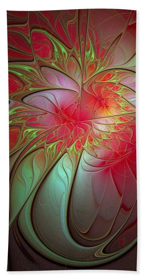 Digital Art Bath Towel featuring the digital art Vase Of Flowers by Amanda Moore