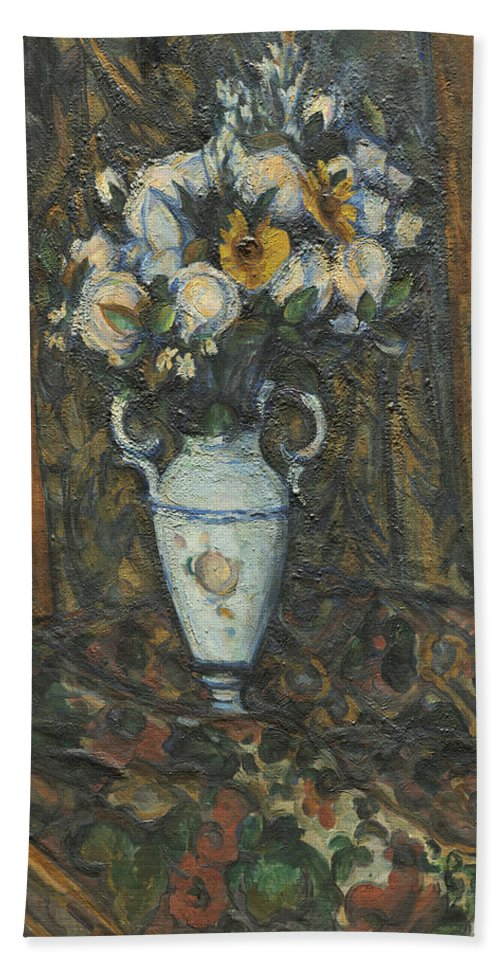 Paul Cezanne Hand Towel featuring the painting Vase Of Flowers by Paul Cezanne