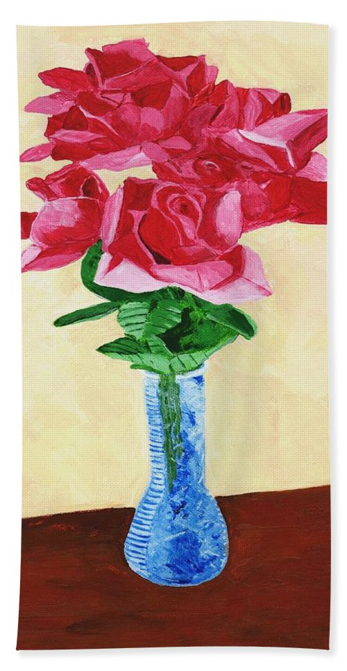 Red Roses Hand Towel featuring the painting Vase Of Red Roses by Rodney Campbell