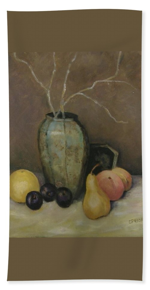 Still Life Hand Towel featuring the painting Vase With Fruit by Pat Snook