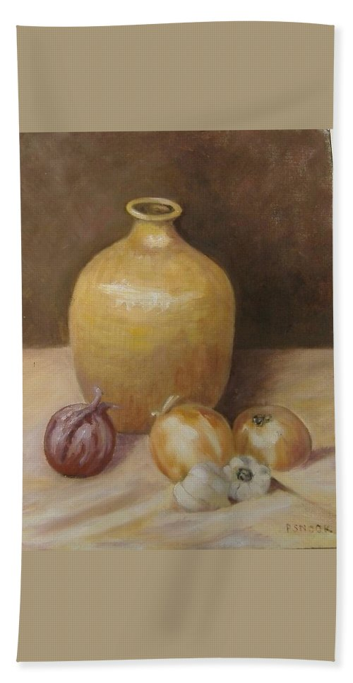 Still Life Hand Towel featuring the painting Vase With Onion by Pat Snook