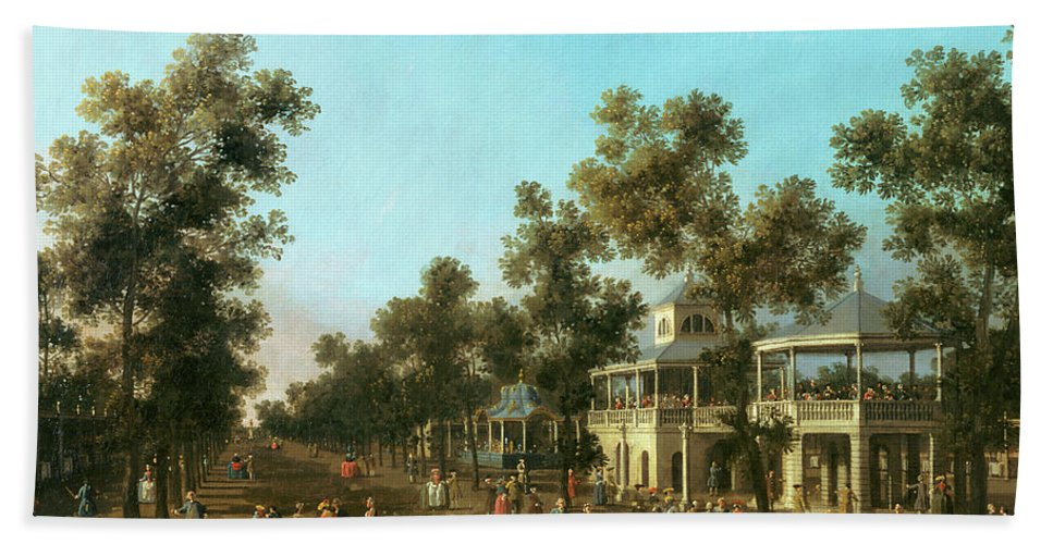 Vauxhall Gardens: The Grand Walk Hand Towel featuring the painting Vauxhall Gardens The Grand Walk by Canaletto