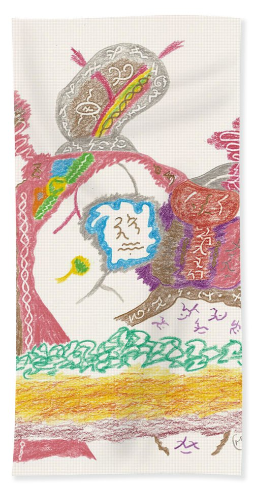 Shaman Hand Towel featuring the drawing Vedauwoo Shaman by Mark David Gerson