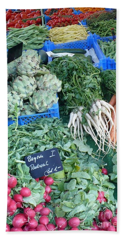 European Markets Bath Towel featuring the photograph Vegetables At German Market by Carol Groenen