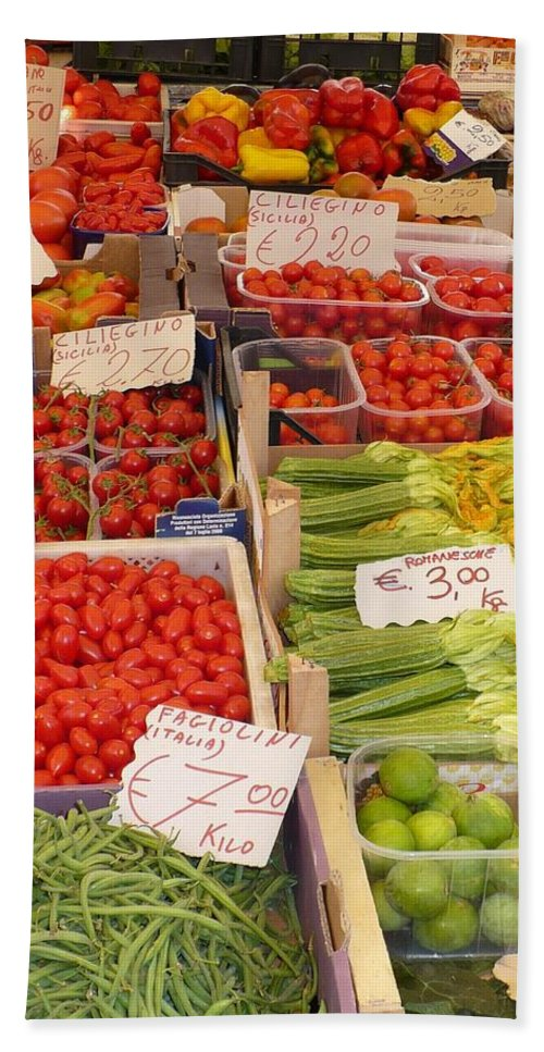 European Markets Hand Towel featuring the photograph Vegetables At Italian Market by Carol Groenen