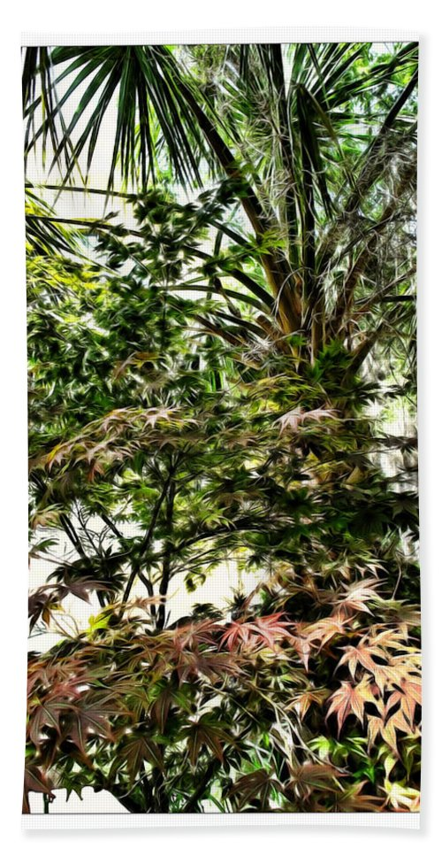 Charleston Hand Towel featuring the digital art Vegetation Takeover by Joan Minchak