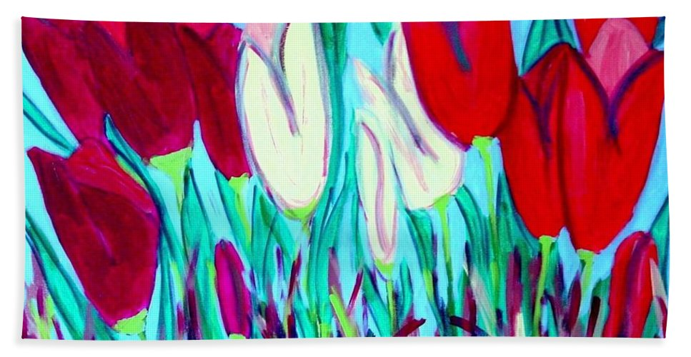 Tulips Bath Towel featuring the painting Velvet Tulips by Laurie Morgan