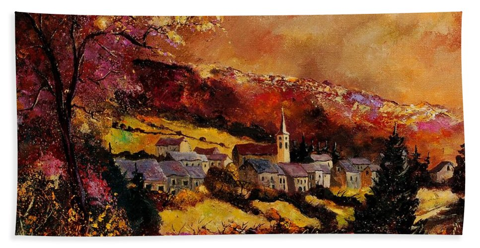 River Hand Towel featuring the painting Vencimont Village Ardennes by Pol Ledent