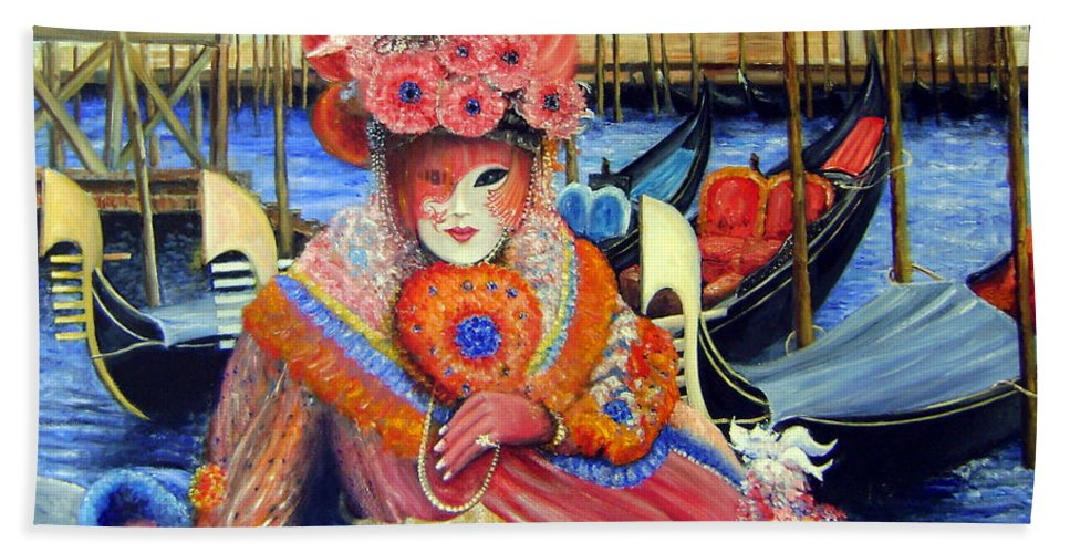 Venice Bath Sheet featuring the painting Venetian Carneval Mask With Bird Cage by Leonardo Ruggieri
