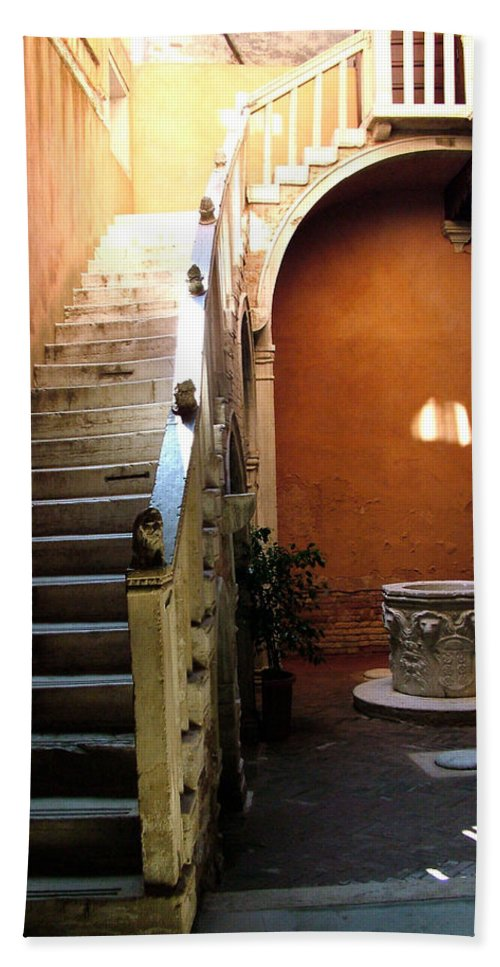 Architecture Bath Sheet featuring the photograph Venetian Stairway by Donna Corless
