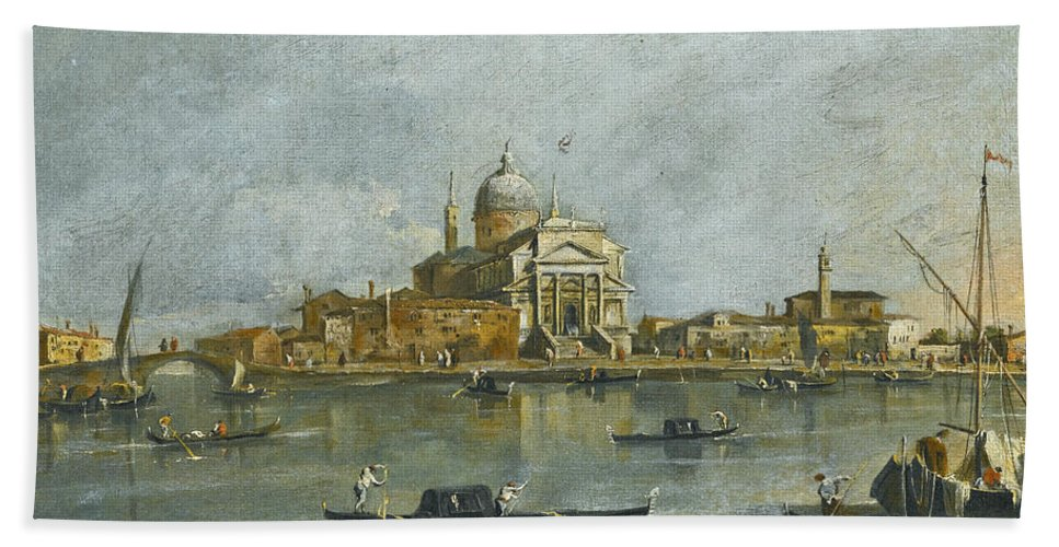 Giacomo Guardi Bath Sheet featuring the painting Venice. A View Of The Church Of San Giorgio Maggiore by Giacomo Guardi