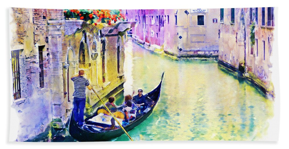 Venice Hand Towel featuring the mixed media Venice Canal by Marian Voicu