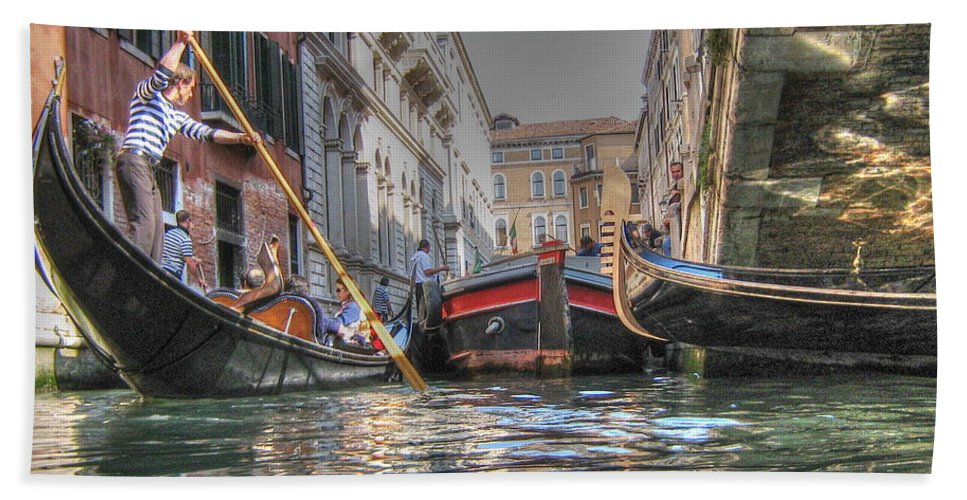 City Hand Towel featuring the pyrography Venice Channelsss by Yury Bashkin