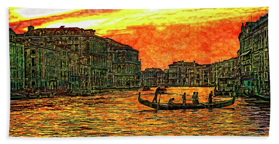 Venice Hand Towel featuring the photograph Venice Eventide by Steve Harrington