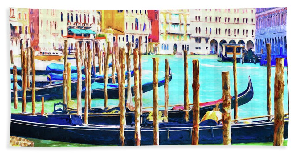 Canals Bath Sheet featuring the painting Venice Gondolas by Dominic Piperata