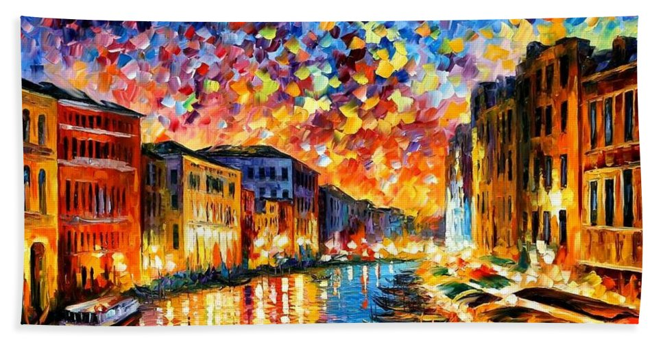 Afremov Bath Towel featuring the painting Venice - Grand Canal by Leonid Afremov