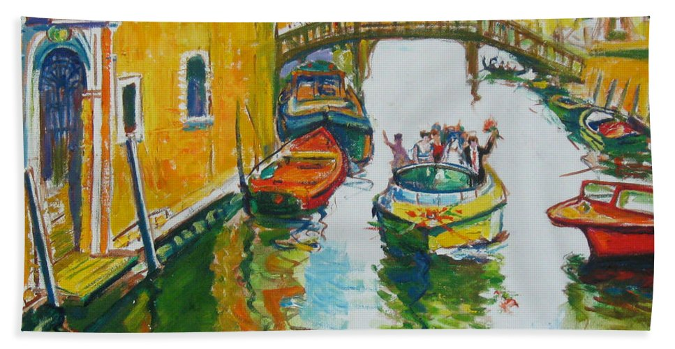 Venice Hand Towel featuring the painting Venice by Guanyu Shi