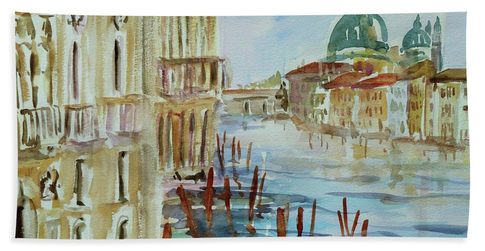 Venice Bath Sheet featuring the painting Venice Impression III by Xueling Zou