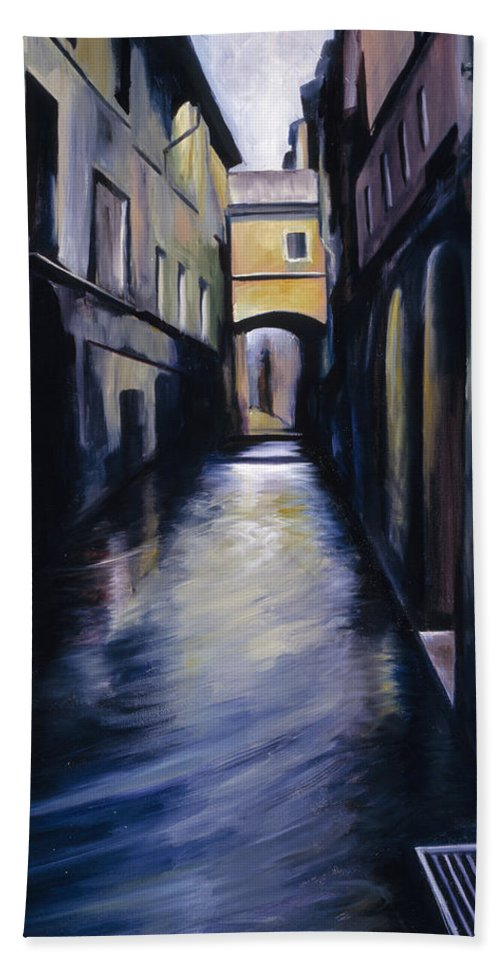 Street; Canal; Venice ; Desert; Abandoned; Delapidated; Lost; Highway; Route 66; Road; Vacancy; Run-down; Building; Old Signage; Nastalgia; Vintage; James Christopher Hill; Jameshillgallery.com; Foliage; Sky; Realism; Oils Bath Towel featuring the painting Venice by James Christopher Hill