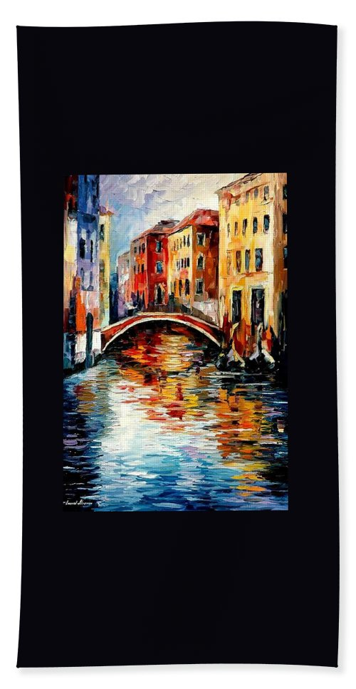 Landscape Bath Sheet featuring the painting Venice by Leonid Afremov