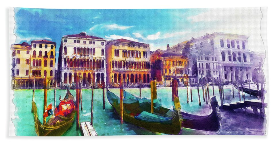 Venice Hand Towel featuring the painting Venice by Marian Voicu