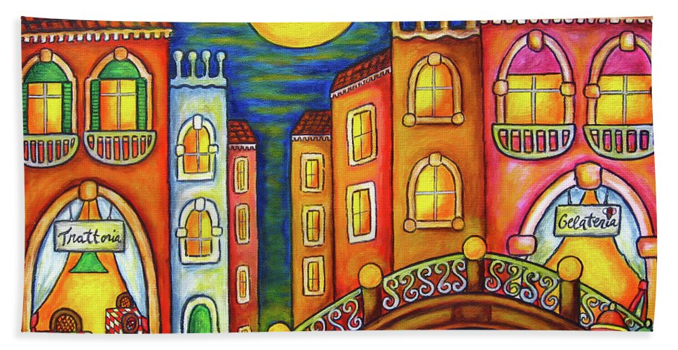 Colourful Bath Towel featuring the painting Venice Soiree by Lisa Lorenz