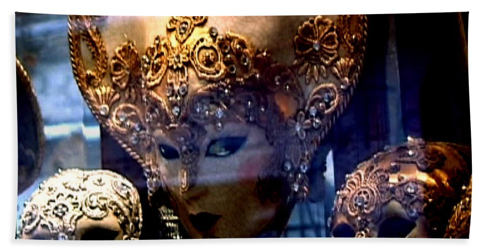 Venice Bath Sheet featuring the photograph Venician Masks by Charles Stuart