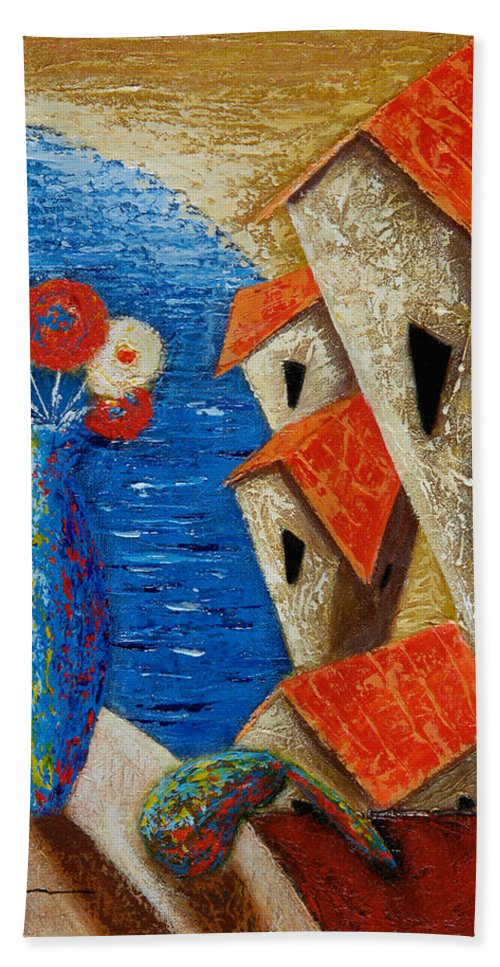 Landscape Bath Sheet featuring the painting Ventana Al Mar by Oscar Ortiz
