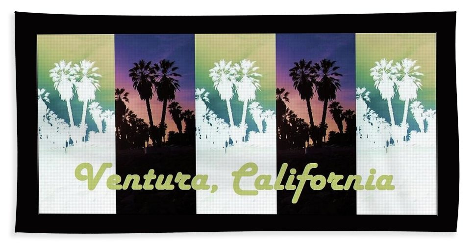 Ventura Bath Sheet featuring the mixed media Ventura, California by Mary Ellen Frazee