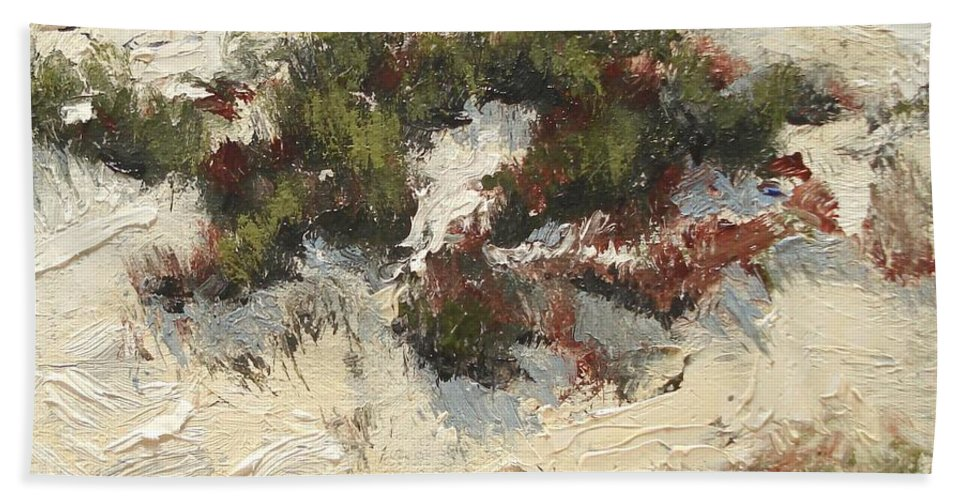 Water Hand Towel featuring the painting Ventura Dunes I by Barbara Andolsek