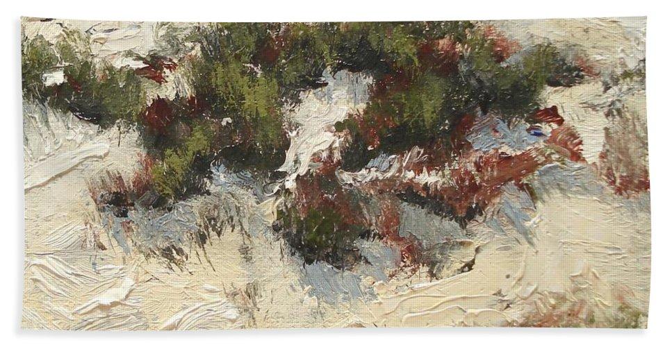Water Bath Towel featuring the painting Ventura Dunes I by Barbara Andolsek