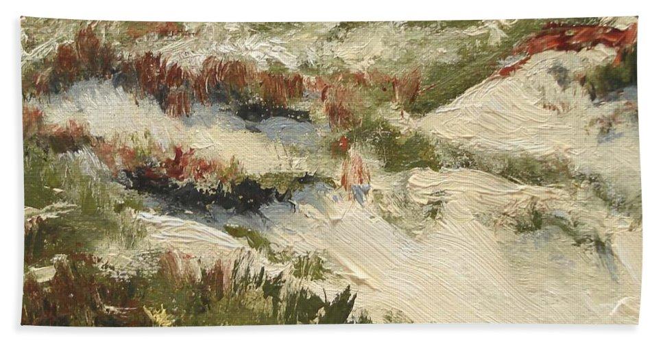 Water Hand Towel featuring the painting Ventura Dunes II by Barbara Andolsek