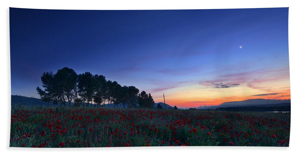 Planet Bath Sheet featuring the photograph Venus And Moon Over Spring Poppies by Guido Montanes Castillo